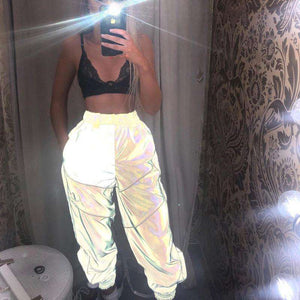 light-reflective lines decoration pants - Lupsona