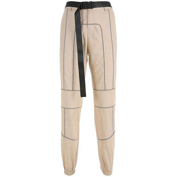 light-reflective lines patchwork cargo pants