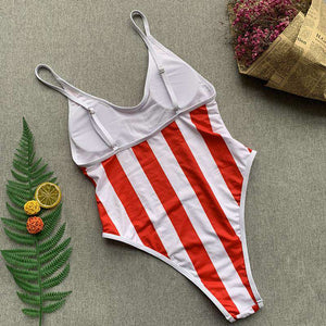 red&white vertical stripes one-piece swimsuit - Lupsona