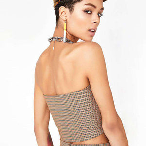 chain halter slash neck tartan tube top - Lupsona