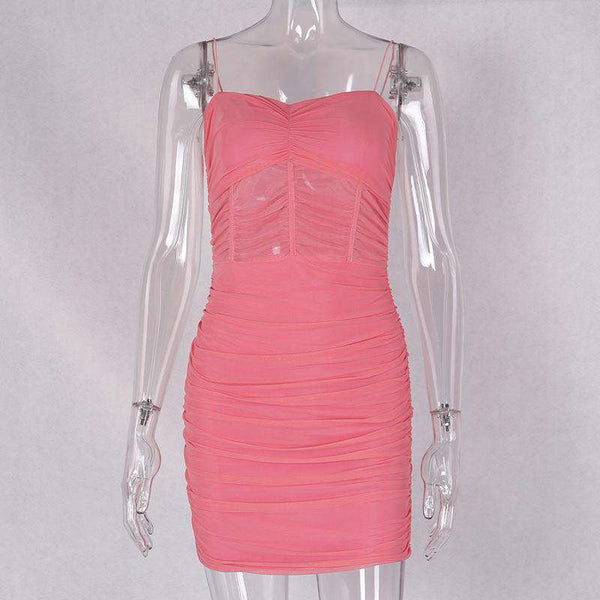 Strappy-Sheer plackeg schlank Bodycon Kleed
