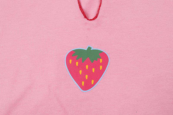 V-neck strawberry printed cute crop top t-shirt