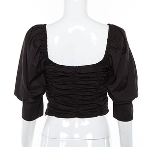 U neck puff sleeved pleated crop top