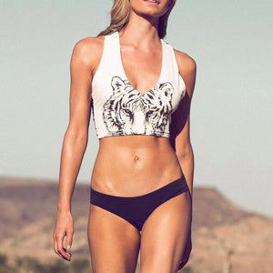 tiger printed tank 2-pieces bikini set - Lupsona