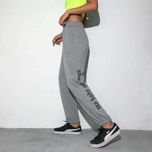 letters printed basic casual pants - Lupsona