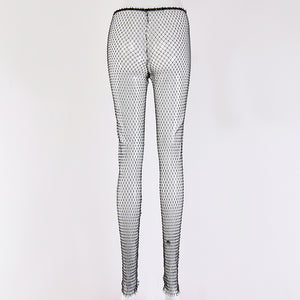sparkle diamonds fishnet pants - Lupsona