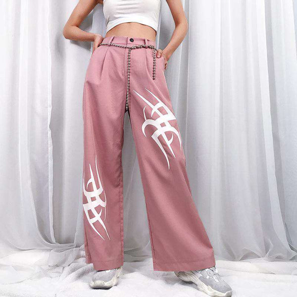 fire printed wide-leg casual pants - Lupsona
