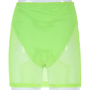Neonfarbe Mesh Patchwork Top Rock Frauen Set - Lupsona