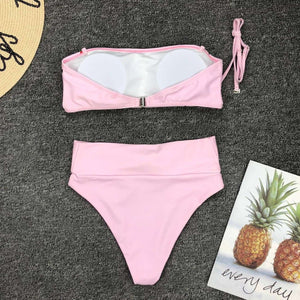 cute heart printed bikini set - Lupsona
