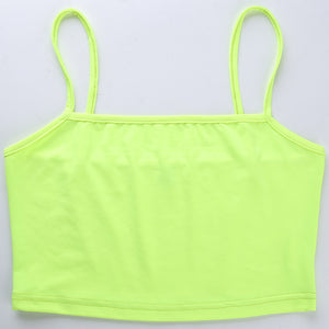 simple candy color slim strappy crop top - Lupsona
