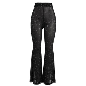 Pailletten Patch Mesh Slim Sheer Hosen