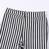vertical stripes high waist slim pants