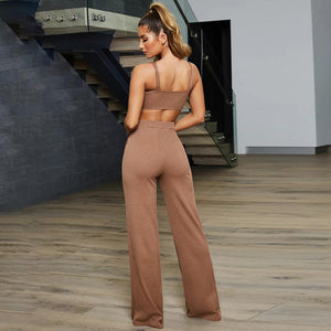 slim strappy crop top pants leisure set
