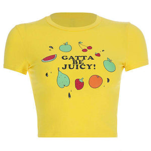 fruits/stars printed cute slim crop top - Lupsona