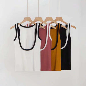Top slim color backless con toppe sui bordi - Lupsona