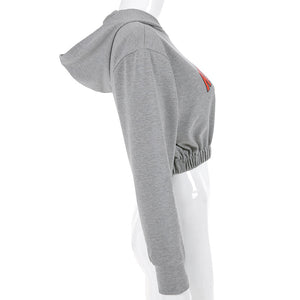 rock méi gedréckte Hooded copped Sweatshirt Jogger Hosen Frae Set