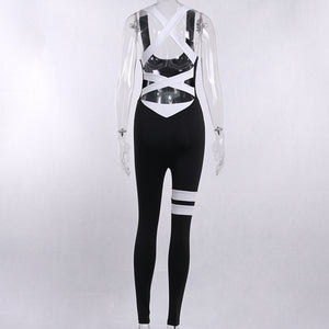 contrast color back bandaged slim activewear - Lupsona