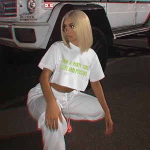 t-shirt crop stampata lettere color neon - Lupsona
