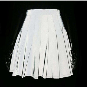light-reflective pleated mini skirt - Lupsona