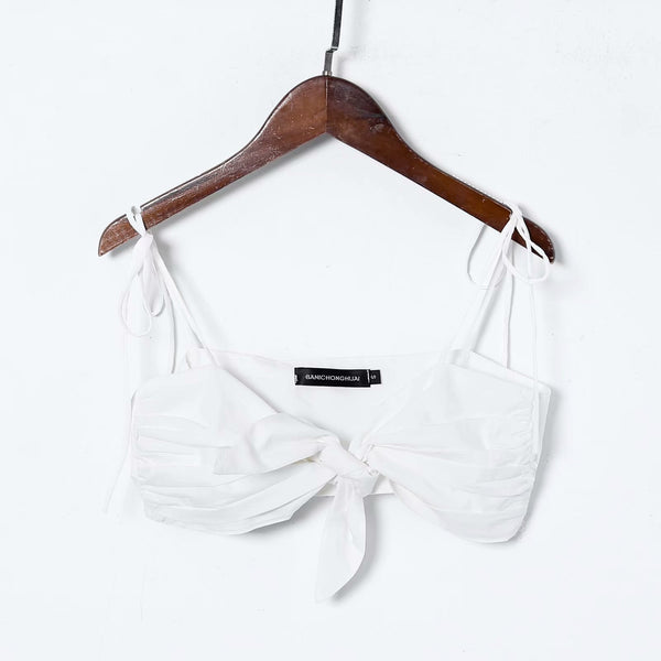 tie-up straps front bowknot crop top