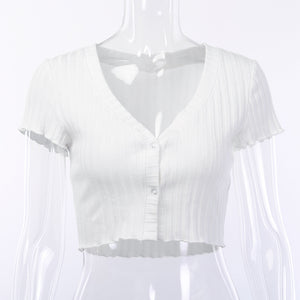 deep v two buttons pure white crop top - Lupsona