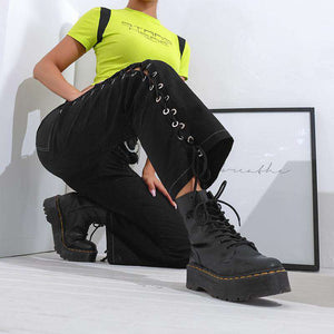 side lace-up casual cargo pants - Lupsona