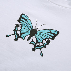 falbala hem butterfly printed simple t-shirt - Lupsona