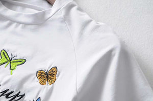 butterfly embroidered short sleeved slim t-shirt - Lupsona