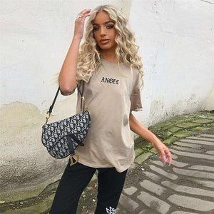 khaki Bréiwer Broderie locker Casual T-Shirt - Lupsona