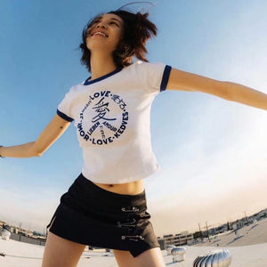 t-shirt crop crop stampata lettere d'amore - Lupsona