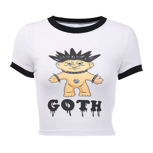 punk Cartoon gedréckt schlankem T-Shirt - Lupsona