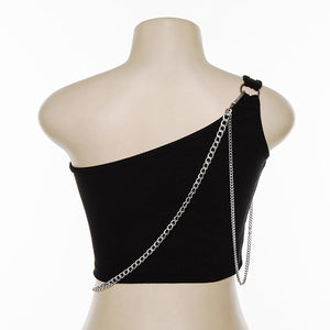 one-shoulder solid color chain patchwork bustier top
