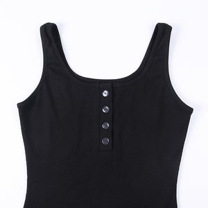 U Halsfront Buttons Slim Bodycon Kleed