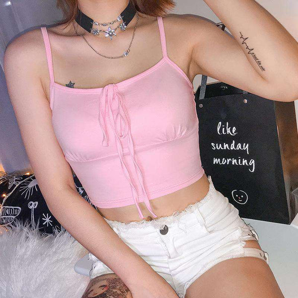 front bow-tie strappy crop top - Lupsona