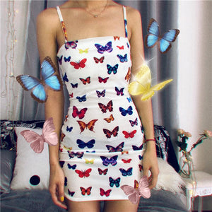 retro velvet butterfly printed slim bodycon dress - Lupsona
