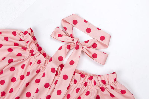 Falbala Hem Slash Neck Polka Dots lockeres Kleid - Lupsona