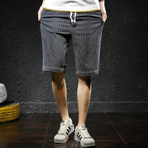 stripe pattern elastic loose shorts middle pants - Lupsona