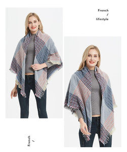 winter warm plaid tassels blanket pashmina shawls scarves - Lupsona