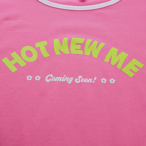 sweet pink letters printed slim crop top - Lupsona