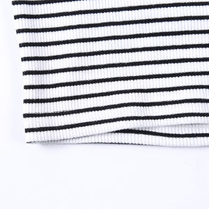 stripes knitted sleeveless mock neck slim top - Lupsona