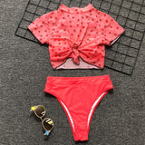 knot heart printed mesh top 3 pieces bikini set