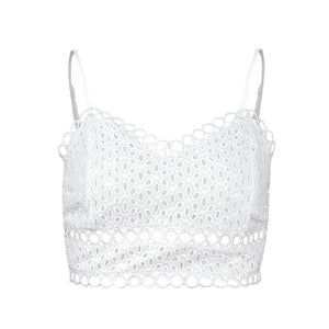 diepe V-kanten, strappy witte bh-top - Lupsona