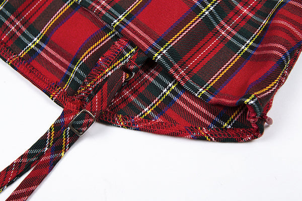 Retro-roude Tartan-Stretch Slim Kleed