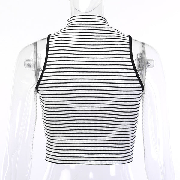 stripes knitted sleeveless mock neck slim top