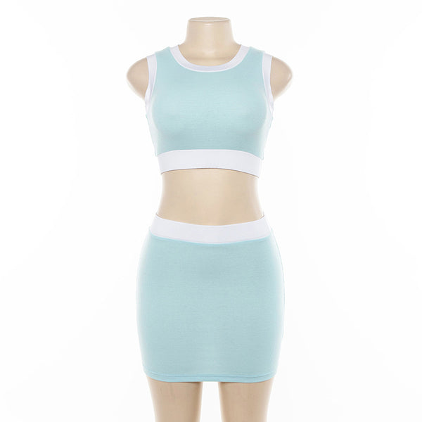 color patch slim crop top skirt set - Lupsona
