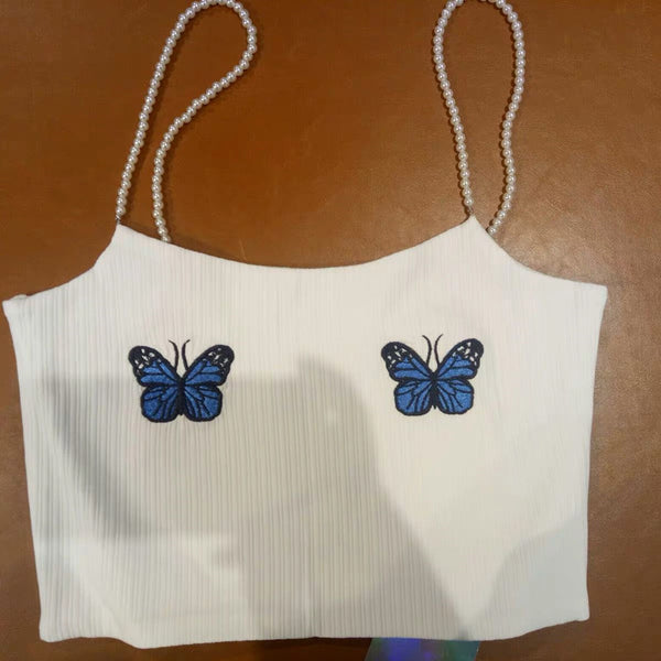 Perlen Träger Schmetterling Stickerei Crop Top