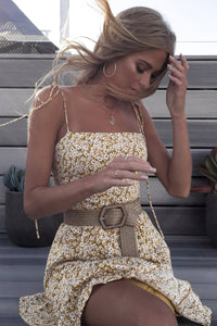 yellow strappy floral printed sweet mini dress - Lupsona