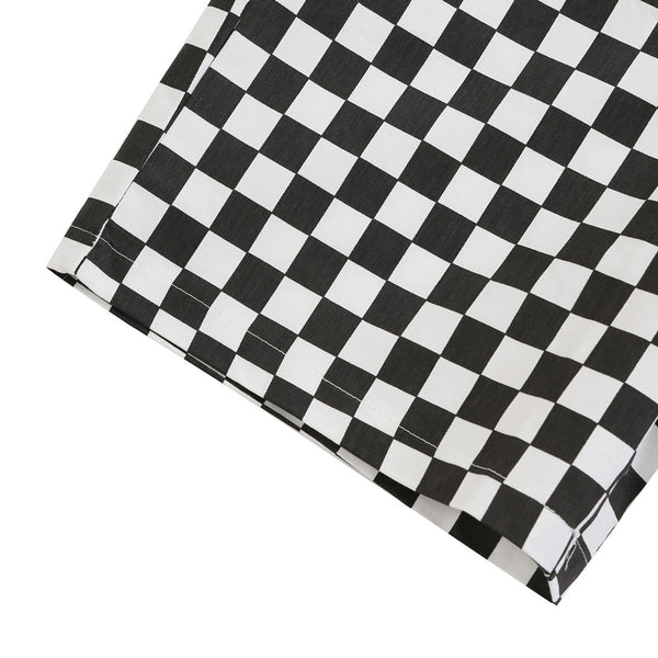 black and white checkerboard loose jumpsuit overalls - Lupsona