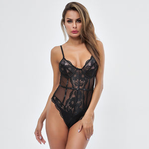solid color strappy lace patchwork slim bodysuit - Lupsona