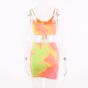 strappy Tie-Dye Front Rimm top Top waisted Rock 2 Stéck Kleed Damen Set - Lupsona
